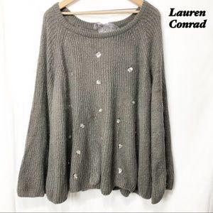 LC Lauren Conrad Gray Oversized Flowey Sweater XL